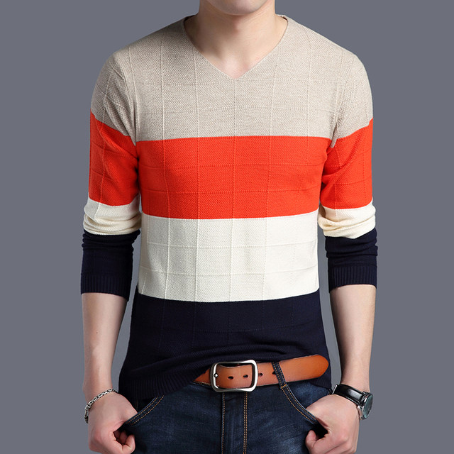 2019 Autumn New Fashion Brand Sweater Man Pullovers Striped Slim Fit Jumpers Knitwear Woolen Korean Style Casual Men Clothes 46