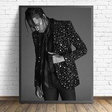 Black White Travis Scott Music Star Painting Canvas Rap Hip Hop Rapper Fashion Model Art Poster Wall Home Decor Picture Cuadros