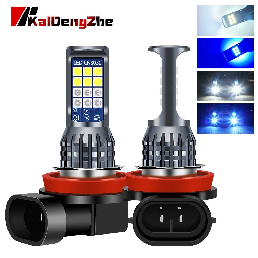 12v white blue led integrado luzes de nevoeiro carro lampada h11 levou 3030 24smd fog lamp