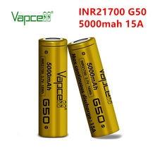 2 stücke Vapcell Original 21700 5000mAh 15A G50 batterie Wiederaufladbare 3,7 V INR21700 li ion batteries handy freies verschiffen