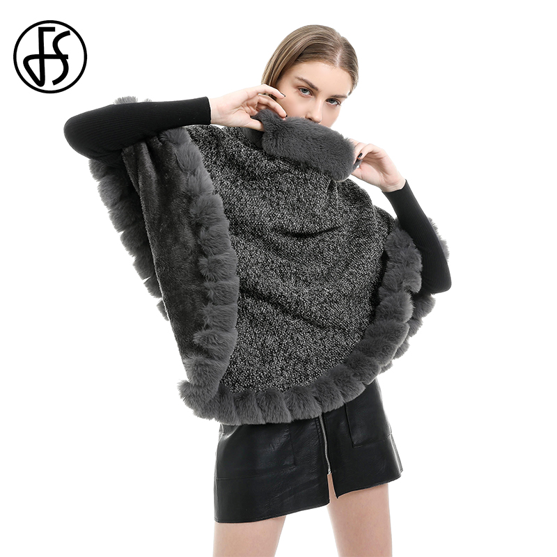 FS Cashmere Pashmina Sweater Fur Collar For Hood Ponchos And Capes Women 2019 Winter Windproof  Blanket Scarf Black Foulard