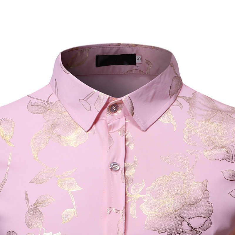 Camisa rosa dorada con estampado rosa para hombre 2019 camisa elegante ajustada de manga larga para hombre chemise Homme