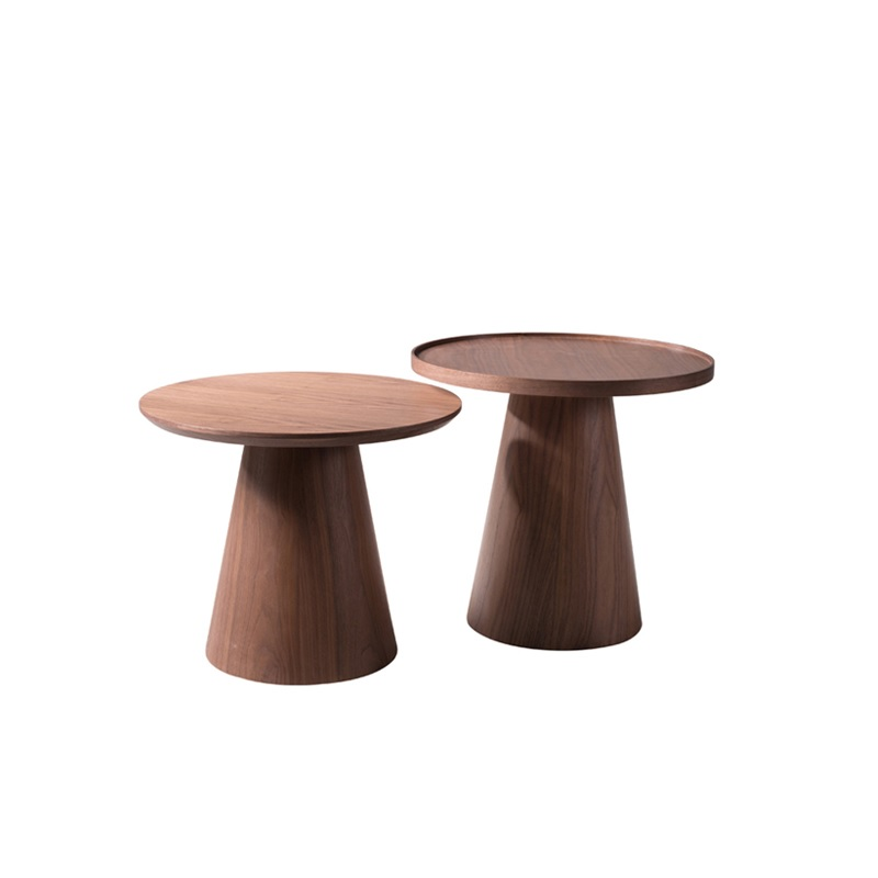 56cm Round Plywood Coffee Table With Walnut Veneer