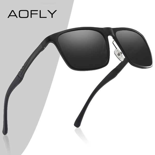 AOFLY BRAND DESIGN Aluminum magnesium Polarized Sunglasses Men 2020 Fashion Square Driving Fishing Mirror Sun glasses Male UV400