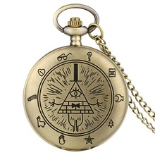 Gravity Fall Bill Cipher Time Gem Necklace Quartz Pocket Watch Weird Town Triangle One-Eyed Devil Pendant Chain for Men Women(China)