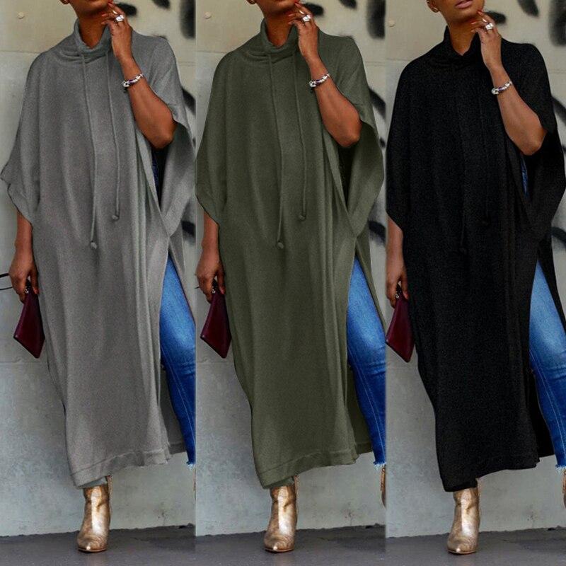 2019 ZANZEA Long Sleeve Maxi Dress Womens Sundress Female Drawstring Pile Collar Split Sarafans Vestido Tunic Robe 5XL