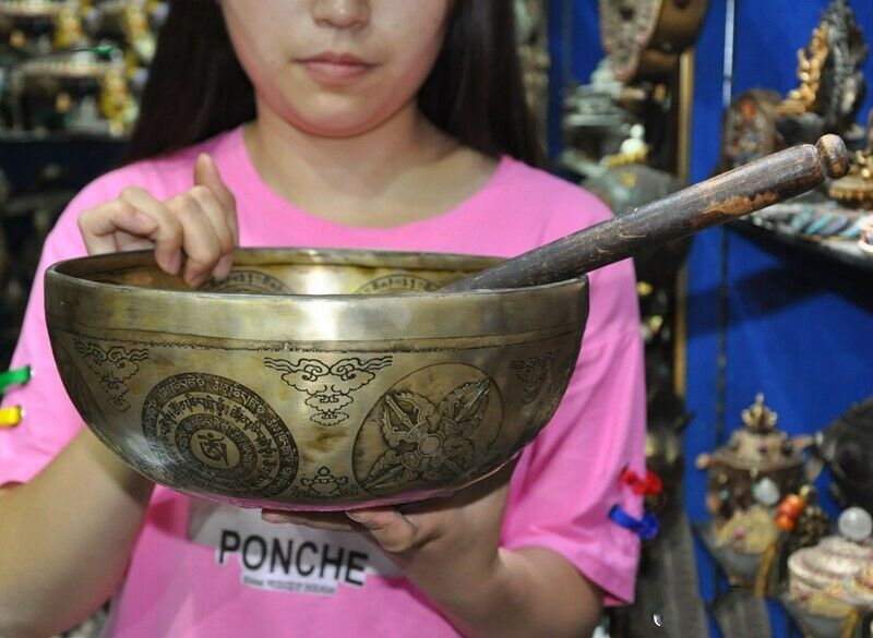 Wedding Decoration Tibet Nepal Bronze 8 Treasure Goddess Singing Bowl Chakra Healing Prayer Bowls