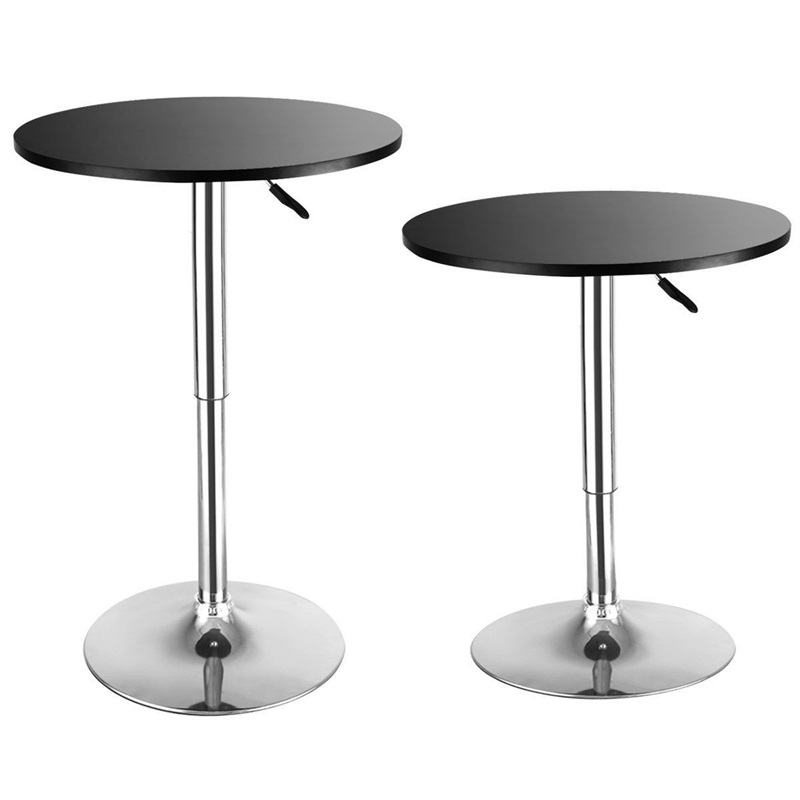 2pcs Height Adjustable Modern Round Bar Table Wood Top Swivel Indoor Home Table Portable Furniture HW52760