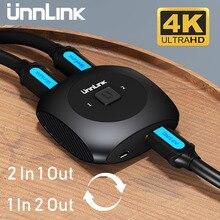 Unnlink HD MI Công Tắc Bộ Chia Bi Đảo Chiều AB Switcher 2X1/1X2 UHD4K Adapter Dành Cho Tivi Led Mi Hộp máy Tính Máy Chiếu Máy Tính Laptop Ps4