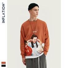 INFLATIE Mannen Sweatshirt Kinderen Print Fleece Mannen Sweatshirt In Oranje En Zwarte Mannen Losse Fit Streetwear Mannen Sweatshirt 9630W