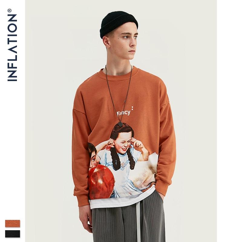 INFLATION Men Sweatshirt Children Print Fleece Men Sweatshirt In Orange And BLack Men Loose Fit Streetwear Men Sweatshirt 9630W