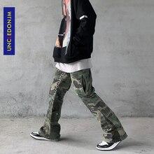 UNCLEDONJM Camouflage Flare Pants mens hip hop clothing hip hop cargo pants streetwear men High Street military trousers ME-612