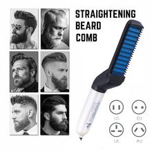 Grzebień prostujący włosy szybki grzebień do brody lokówka pokaż czapkę stylizacja ciepła mężczyźni uroda narzędzie do układania włosów mężczyźni grzebień do brody nowość tanie tanio CN (pochodzenie) 260*85*55mm Z tworzywa sztucznego Ionic Beard Straightening Comb US EU UK AU black No hair damage Preheat within 15 seconds