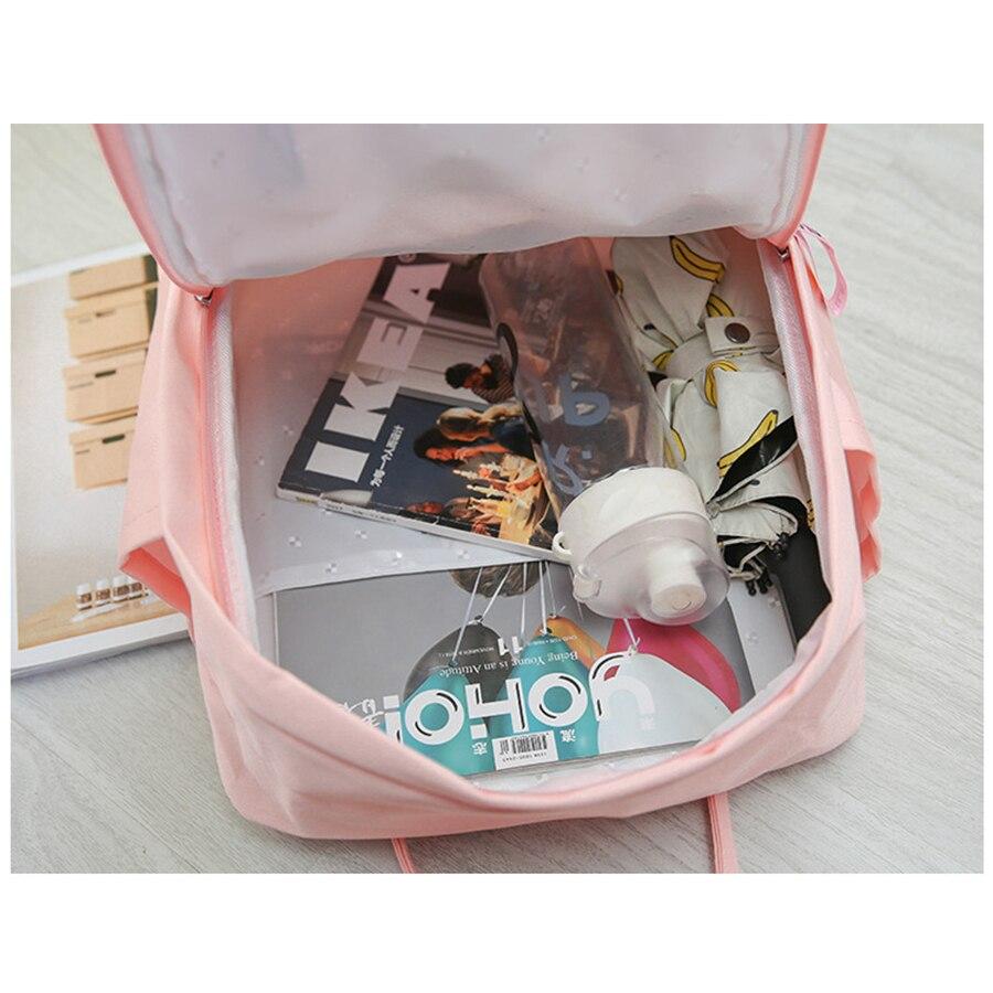 Harajukua Flamingo Embroidery Women Backapacks Waterproof Nylon School Bags for Teenager Girls Casual Travel bags Purse 2019 in Backpacks from Luggage Bags