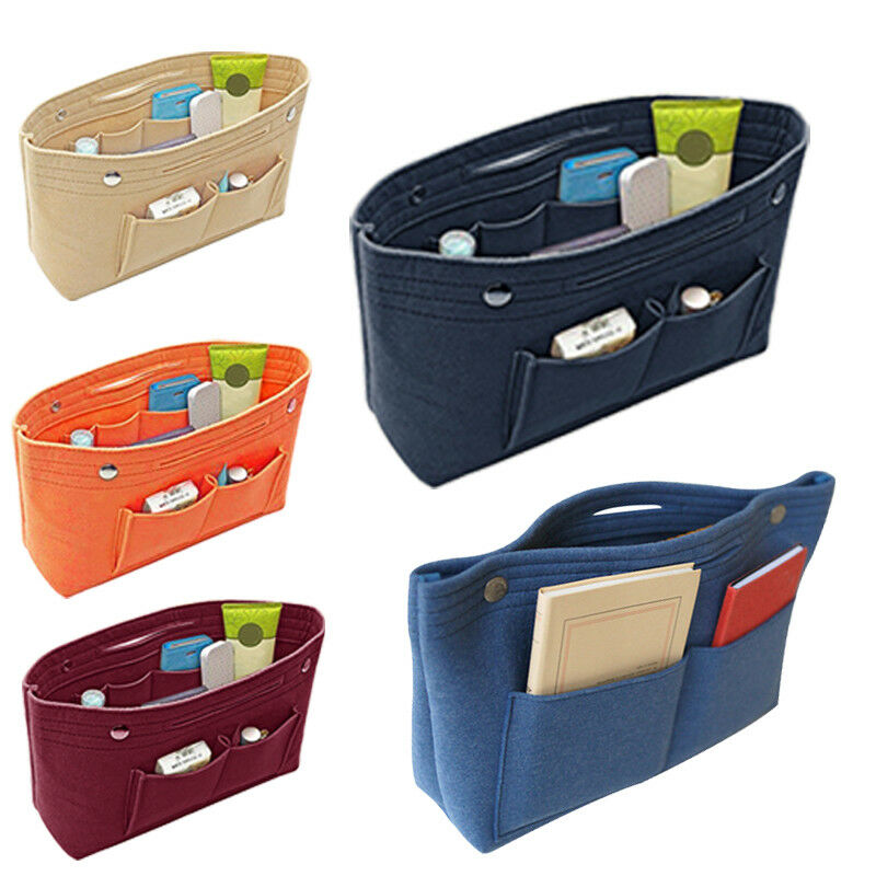 Holiday Travel Portable Big Capacity Felt Insert Bag Makeup Cosmetic Multi Pockets Handbag Purse Organizer Holder