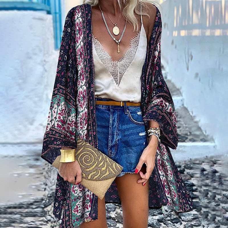 ZANZEA Women Cardigan Summer Open Front Bohemian Floral Printed Blouse Kimono Casual Loose Beach Tops Vintage Long Sleeve Blusas 2