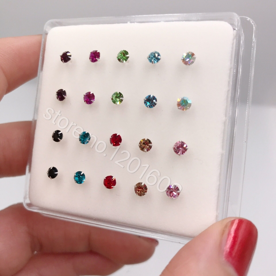 fashion jewelry nose studs Pack of  20pcs 925 sterling silver big size 3mm crystal white /multi color nose pin-0