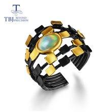 Натуральное разноцветное кольцо с опалом овальное 6*8 мм Стерлинговое