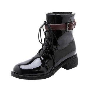 Image 2 - MORAZORA 2020 nowe modne buty motocyklowe pu okrągłe toe zasznurować jesień casual klamerka do butów zip wygodne botki do kostki dla kobiet