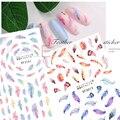 Перо, наклейка для ногтей, украшение для маникюра, 3D наклейки для ногтей, наклейка на заднюю стенку, клей, шарм, перо, дизайн, наклейка для ног...