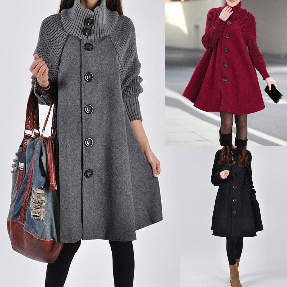 Woolen Cloak Sweater Winter Coat Women Plus Size 2XL пальто Fashion Solid Pocket Loose Shirt Button Casual Long Coat Cardigan