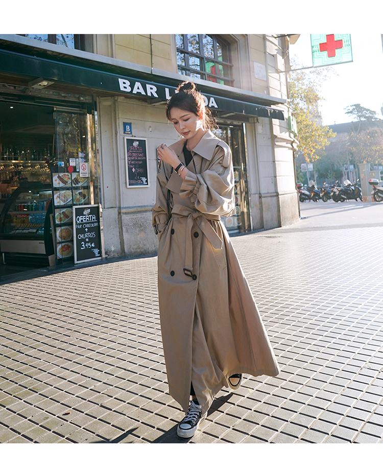 Hf93a21955064469c86247a3362f67dabI Korean Style Loose Oversized X-Long Women's Trench Coat Double-Breasted Belted Lady Cloak Windbreaker Spring Fall Outerwear Grey
