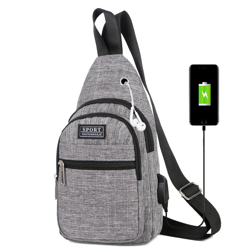 2019 New Style Fashion Canvas USB Interfaces Headphone Jack Shoulder Oblique Chest Pack MEN'S Backpack