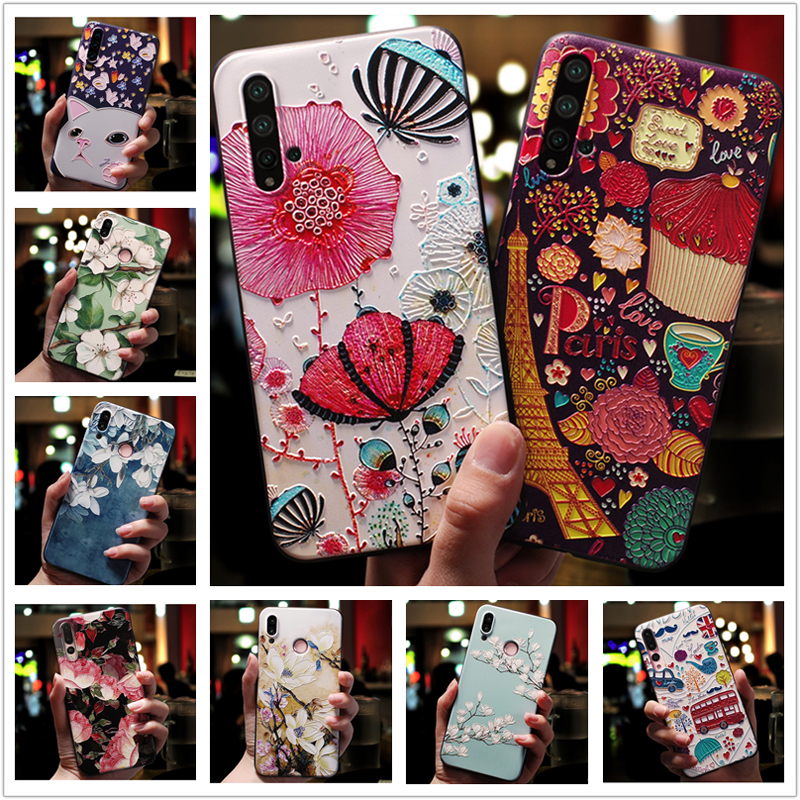for <font><b>Samsung</b></font> A10 A20 A30 <font><b>case</b></font> <font><b>Floral</b></font> 3D Emboss Soft silicon Phone Back Cover for <font><b>Samsung</b></font> Galaxy A30S A50S <font><b>A40</b></font> A50 A70 A20E Bumper image
