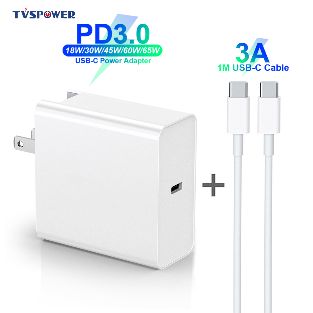 65W 60W 45W <font><b>30W</b></font> 18W <font><b>USB</b></font>-C Power Adapter 3A Cable PD/QC3.0 <font><b>Charger</b></font> For MacBook Xiaomi Huawei iPhone/iPad Pro s9/10 with C-C cable image