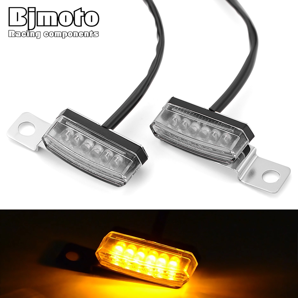 BJMOTO Mini Motorcycle LED Turn Signal Light Tail Rear Lights License Plate Lamp M8 Signals Indicator Blinker Flasher