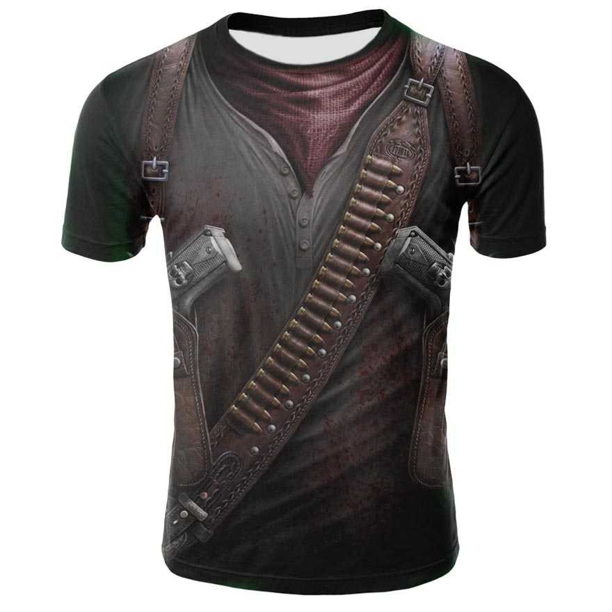 2019 Summer Latest Hot 3D Print Skull Pattern Element T-shirt Fashion Men's Short-sleeved Casual Breathable Round Neck T-shirt