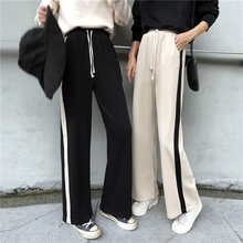 цена на Korean Streetwear Side Stripe Pants Women Hit Color Elastic Waist Wide Leg Pants Black Lace-up Pockets Casual Trousers Apricot