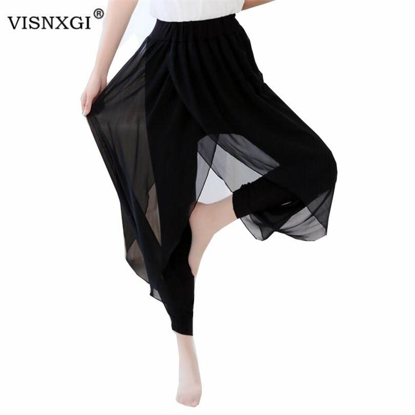 VISNXGI Summer 2020 Fashion Ladies Casual Loose Chiffon Harem Pants Women Black Pantalon Femme Pants Plus Size Hot Sale S-5XL