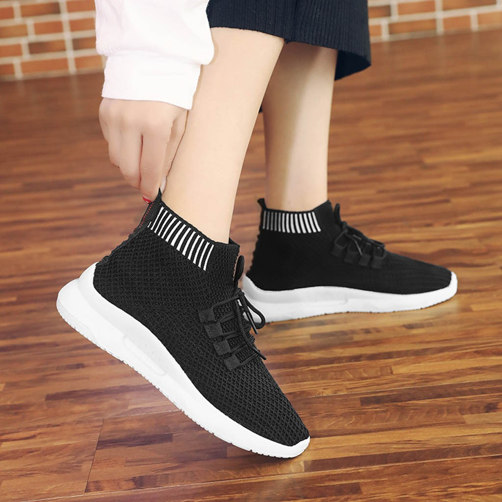 Men Womens Mesh Seakers Elastic Classic Walking and Running Shoes for Summer White