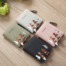 Women Cute Animals Embroidery Short Wallet Card Holder Coin Billfold Purse Bag Bags portfel damski carteira monederos para mujer