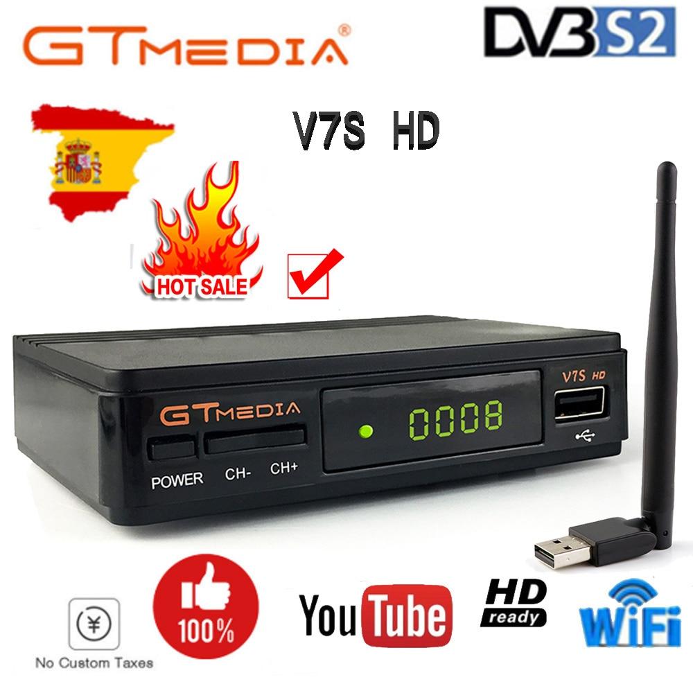DVB-S2 chaude DE gtmedia v7s hd avec le récepteur DE télévision d'usb WIFI FTA + les lignes DE 1 an