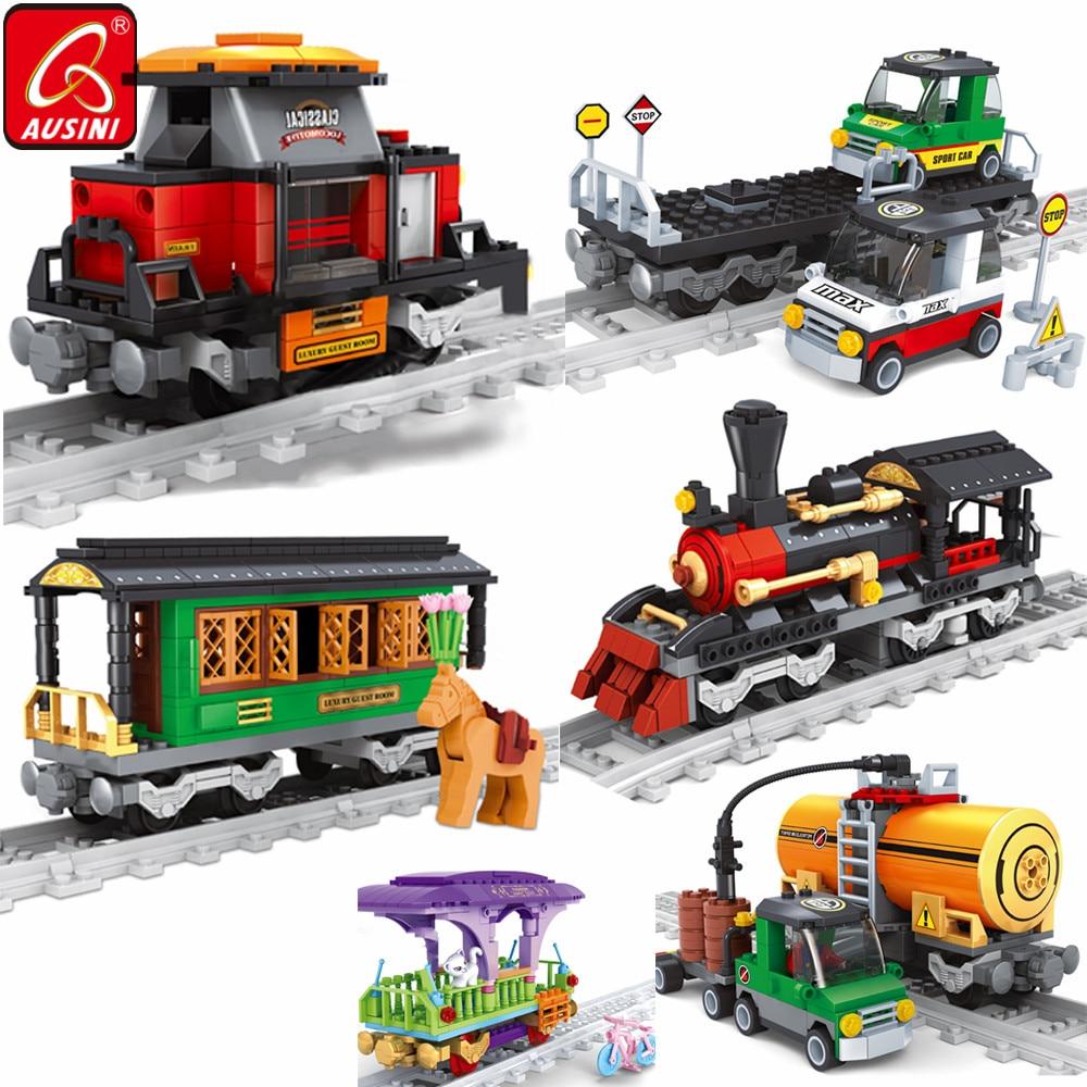 Конструктор AUSINI Железнодорожный детский, железнодорожный поезд, игрушки для мальчиков, модель железнодорожного автомобиля, строительный г...