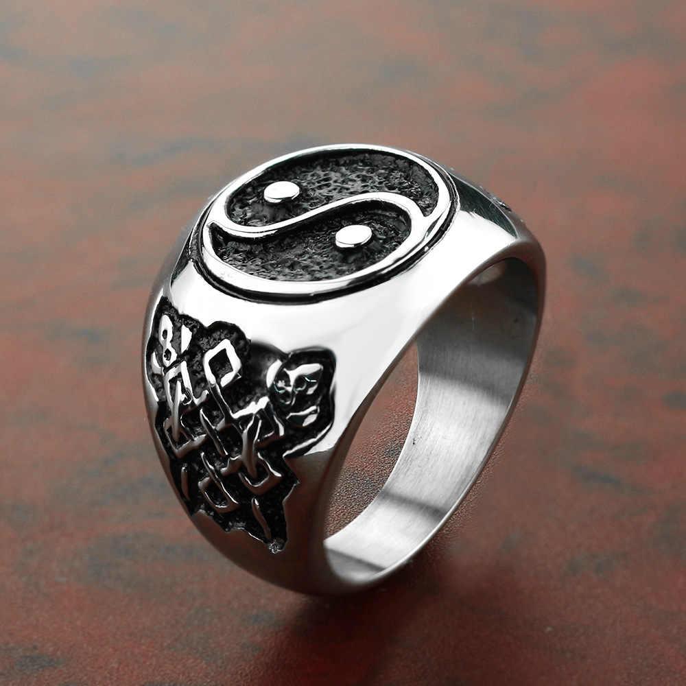 YingYang גברים טבעות חותם חותם זכר טבעת בציר טיטניום נירוסטה פאנק רוק היפ הופ Biker להקת גותי ויקינג DCR080