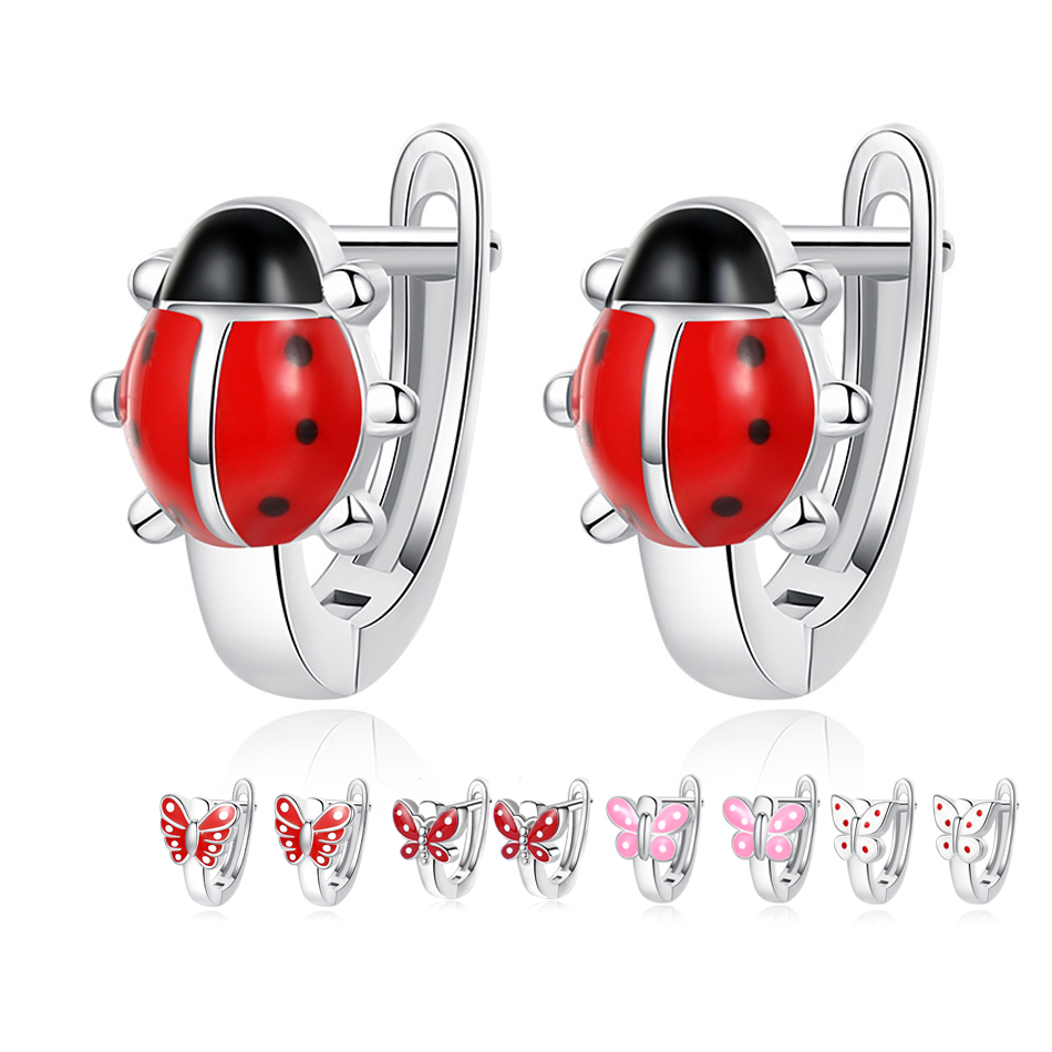 BELAWANG 2018 Christmas Gift 925 Sterling Silver Animal Ladybug Earrings for Child Red Enamel Ladybird Stud Earrings for Women