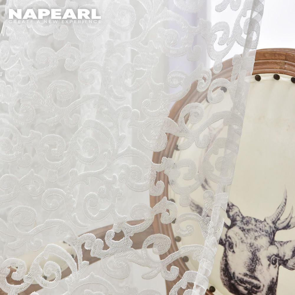 NAPEARL style européen jacquard conception décoration de la maison moderne rideau tulle tissus organza transparent panneau fenêtre traitement blanc