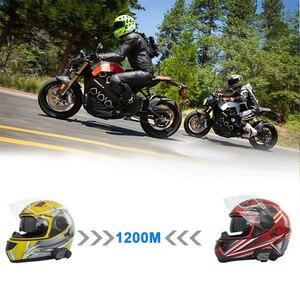 Image 2 - 2pcs Fodsports V6 Pro del Casco Del Motociclo Citofono Senza Fili BT auricolare bluetooth intercomunicador 1200M 6 Giro