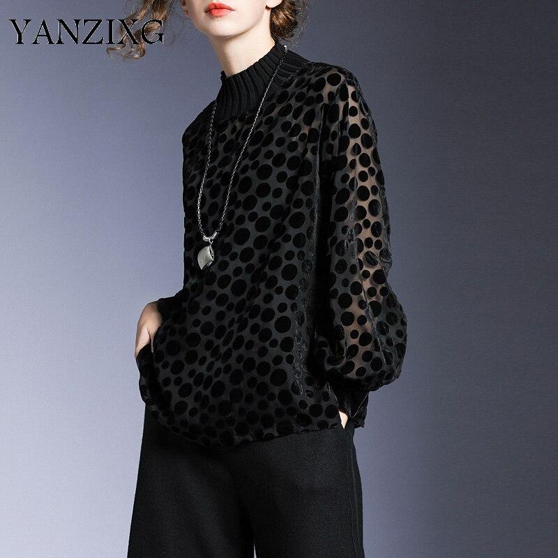 Femmes point noir Perspctive flocage grande taille T-shirt nouveau col rond à manches longues mode marée printemps automne 2020 Y959
