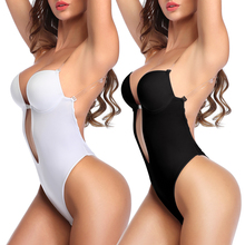 Women Plunging Deep V-Neck Strapless Backless Bodysuit Seamless Thong Full Body Shapewear for Wedding Party