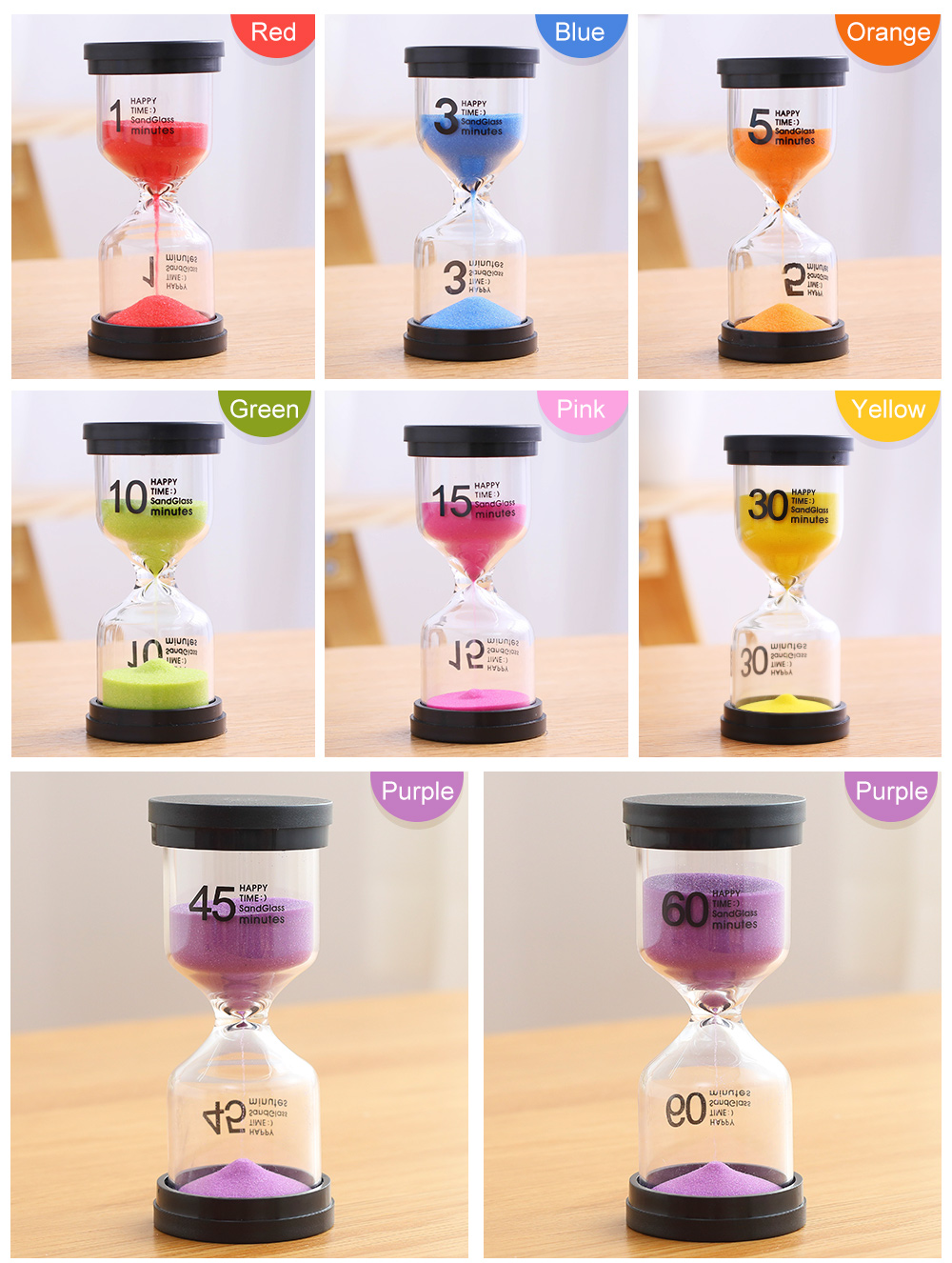 2Pcs 3 Minutes Hourglass Kids Toothbrush Smiley Sand Timer Glass Xmas Gifts