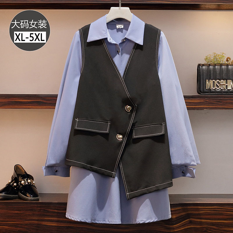 2020 Spring Clothing New Style Large Size Dress Fat Mm Western Style Loose-Fit Shirt Mid-length Irregular Waistcoat Two-Piece Wo