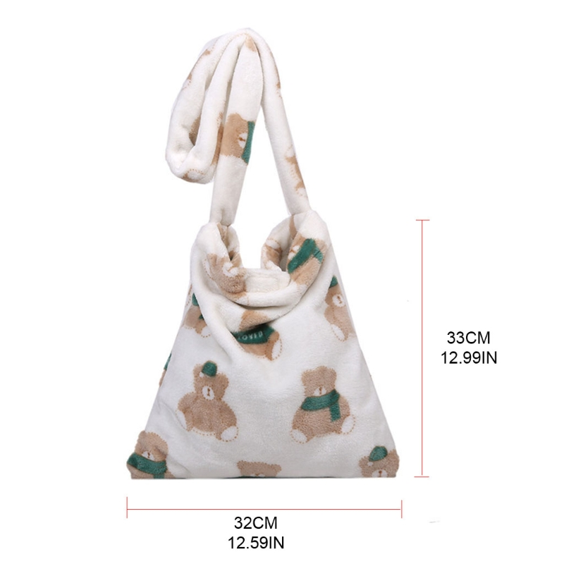 Women Plush Handbags Shoulder Bag Crossbody Purse Shopping Bag Bear Printed