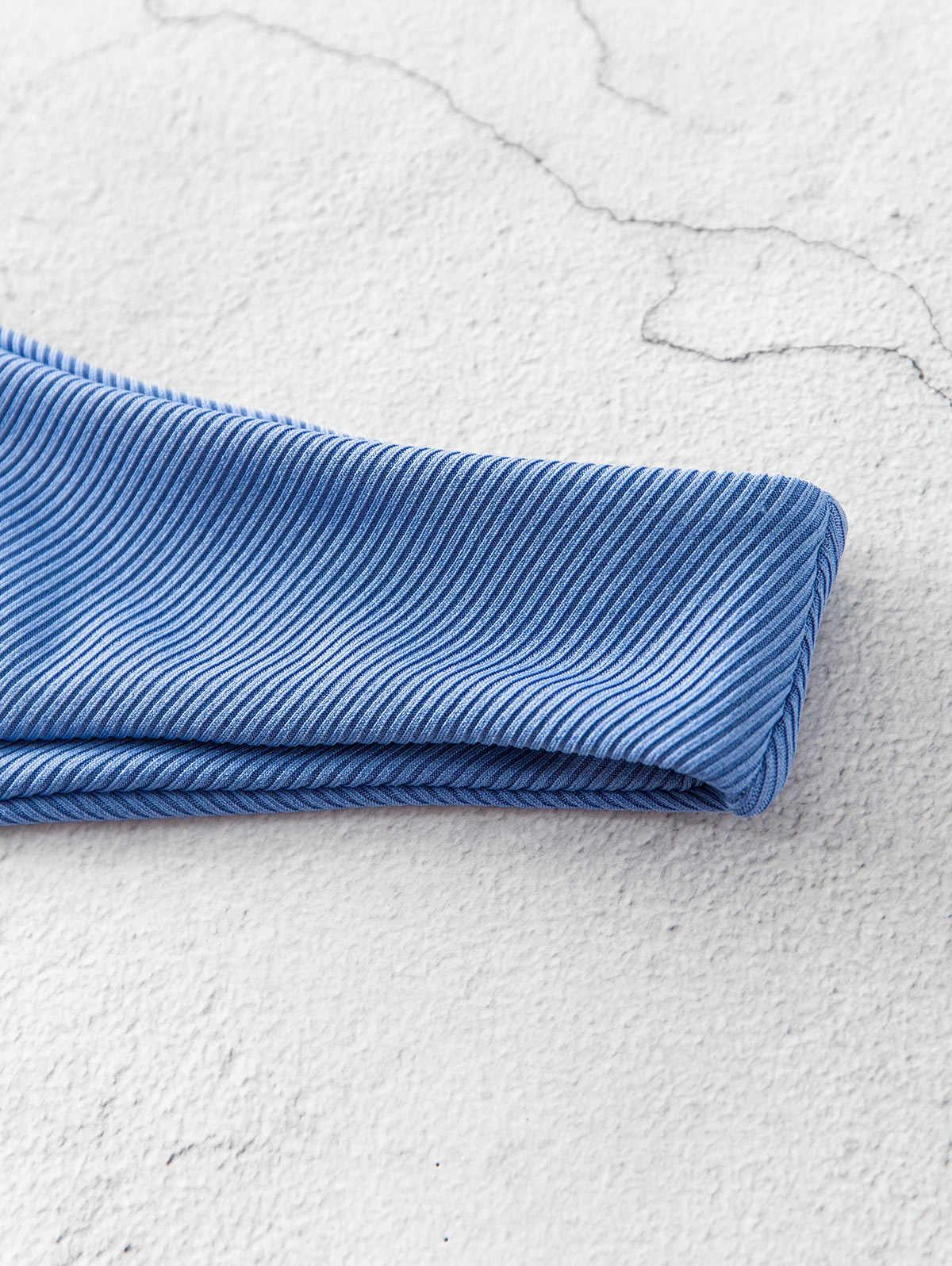 ZAFUL costume da bagno Bikini a fascia con cravatta a costine ritagli Sexy senza spalline increspato Bikini tagliato elastico taglio alto set Bikini da donna