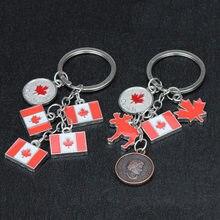 Мультяшный мини-флаг Канады, голова человека, монета, брелок, украшение, кленовый лист, северный олень, 2 стиля, дорожная сувенирная сумка Под...