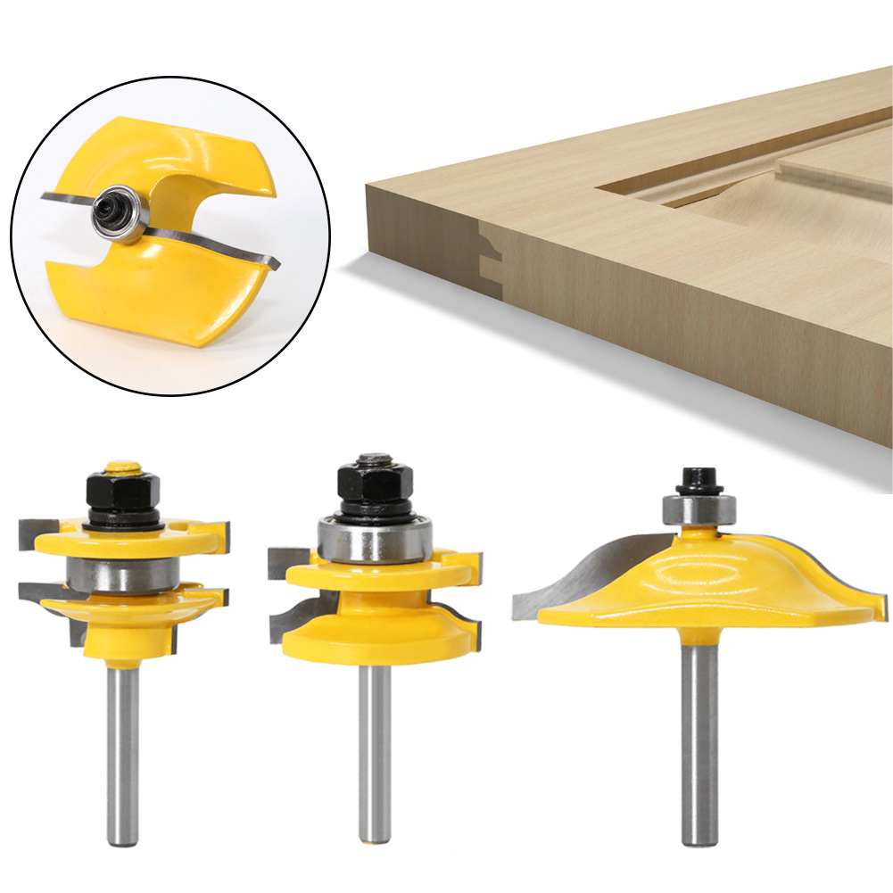 3pcs Tongue & Groove Joint Assembly Router Bit Set 1.4 inch Shank Wood Milling Groove Cutter Blade for Woodworking Cabinet Doors