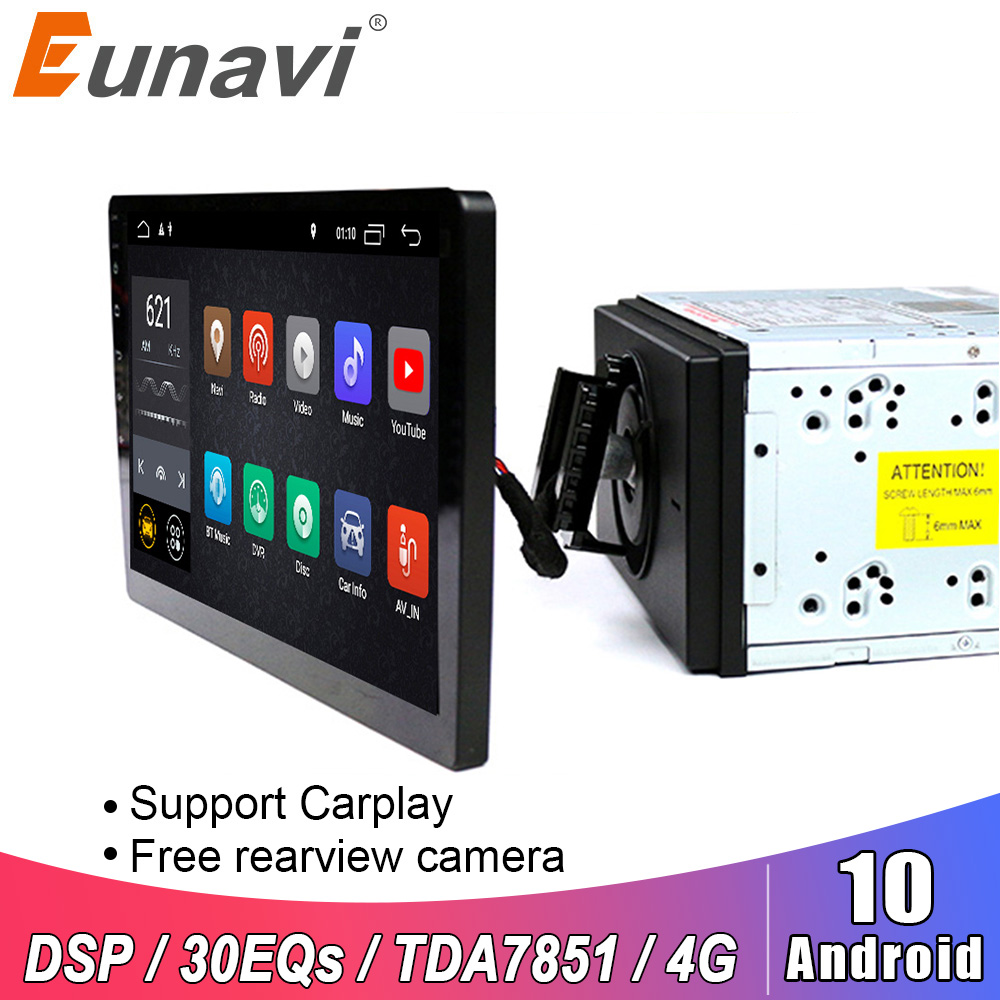 Eunavi 2 Din 10.1 Inch DSP TDA7851 Universal Android 10 Car Multimedia Radio Player 2din GPS Touch Screen Bluetooth Wifi NO DVD
